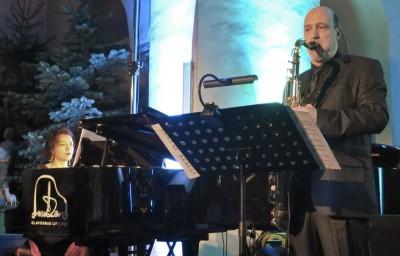 """Pianistin Marina Komissartchik und Saxophonist Stefan Holm. Foto: """"bk"""""""