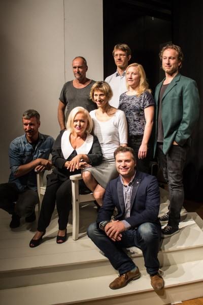 (v.l.):Christopher Tölle, Holger Hauer, Angelika Milster, Nini Stadlmann, Ferdinand von Seebach, Saskia Wunsch, Sascha Rotermund, Marco Billep